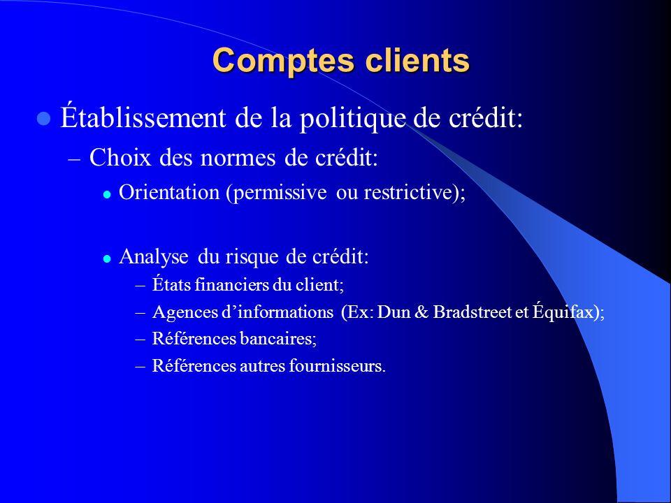 Comptes clients Établissement de la politique de crédit: