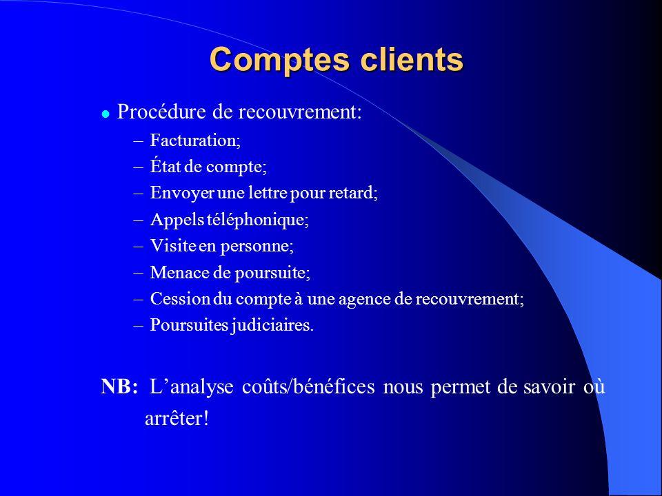 Comptes clients Procédure de recouvrement: