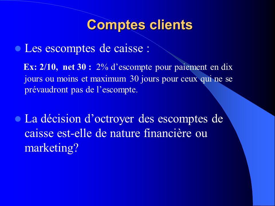 Comptes clients Les escomptes de caisse :