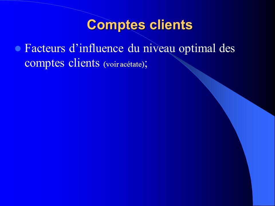 Comptes clients Facteurs d'influence du niveau optimal des comptes clients (voir acétate);