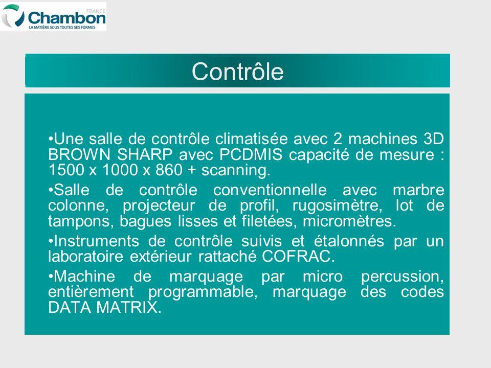 Contrôle Une salle de contrôle climatisée avec 2 machines 3D BROWN SHARP avec PCDMIS capacité de mesure : 1500 x 1000 x 860 + scanning.