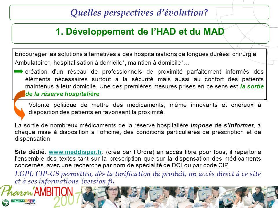 1. Développement de l'HAD et du MAD