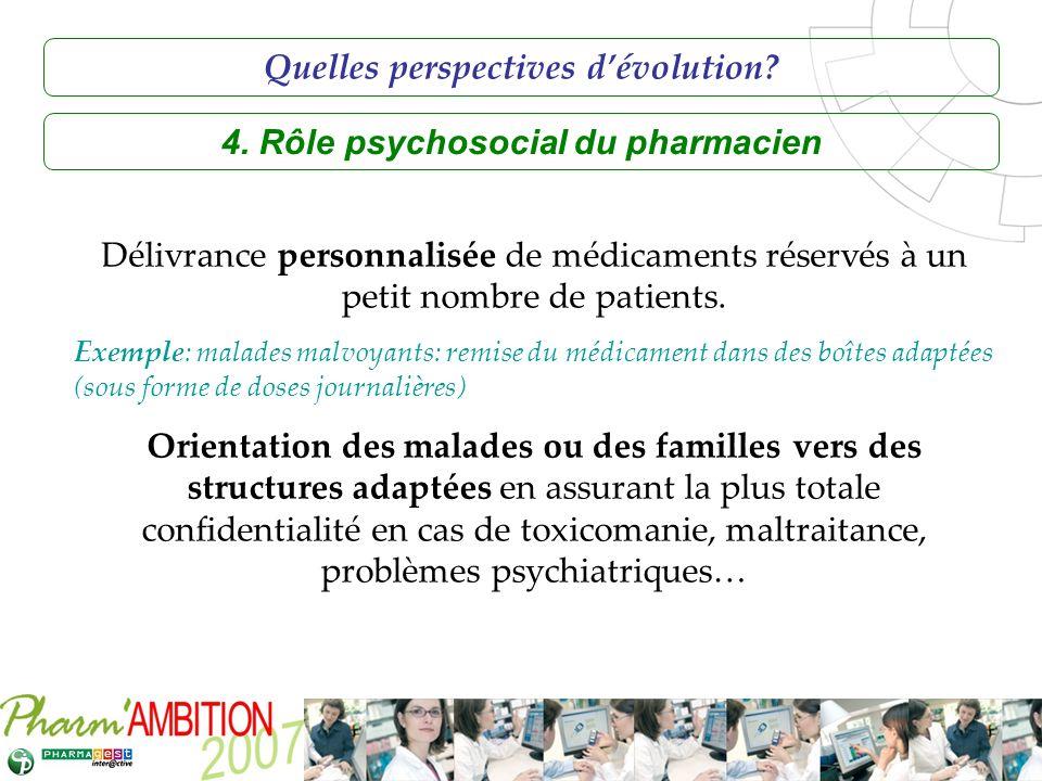 Quelles perspectives d'évolution 4. Rôle psychosocial du pharmacien