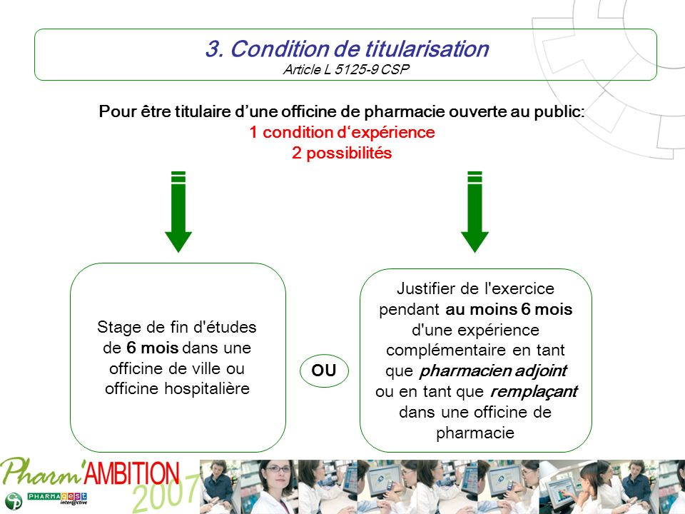 3. Condition de titularisation Article L 5125-9 CSP
