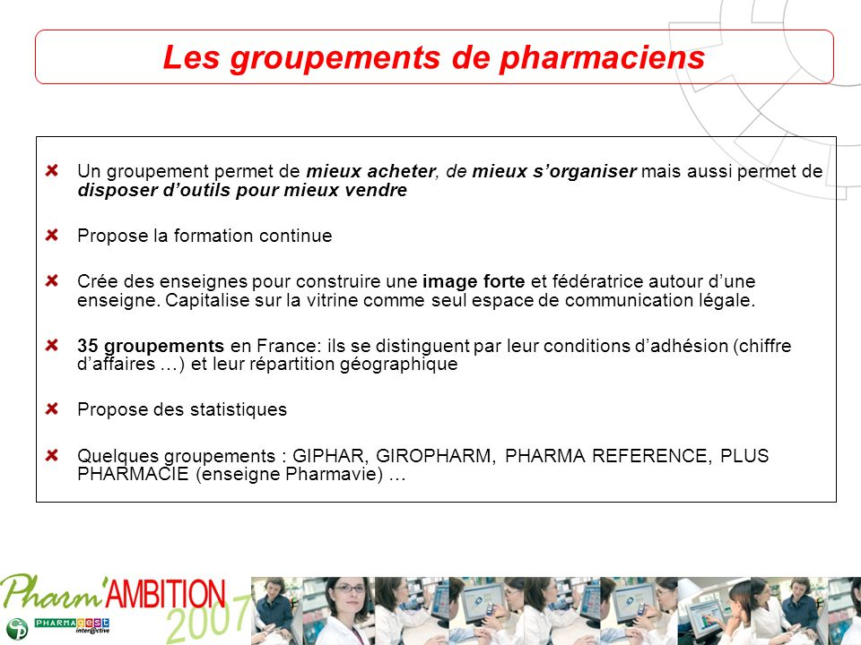 Les groupements de pharmaciens
