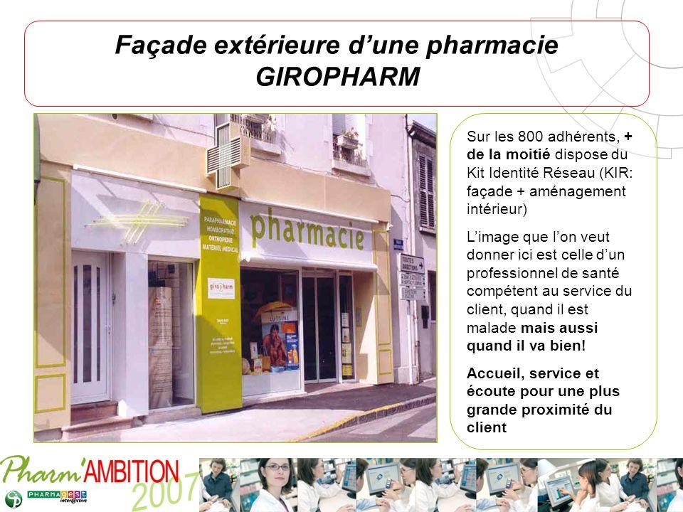 Façade extérieure d'une pharmacie GIROPHARM