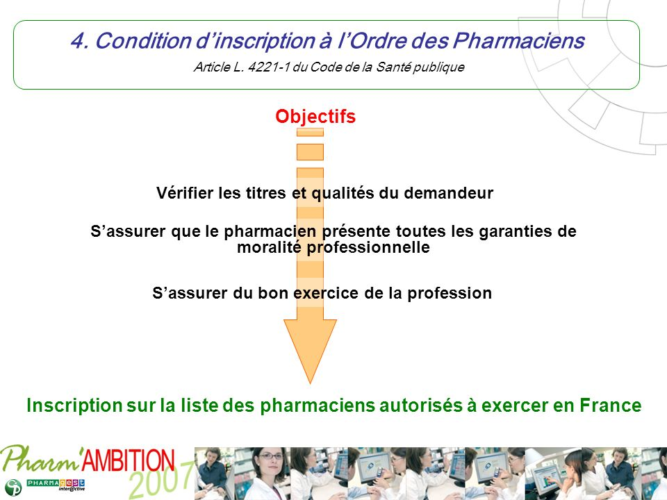 4. Condition d'inscription à l'Ordre des Pharmaciens Article L