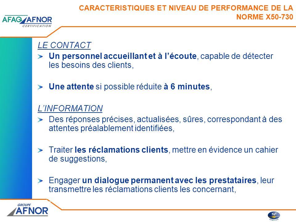 CARACTERISTIQUES ET NIVEAU DE PERFORMANCE DE LA NORME X50-730