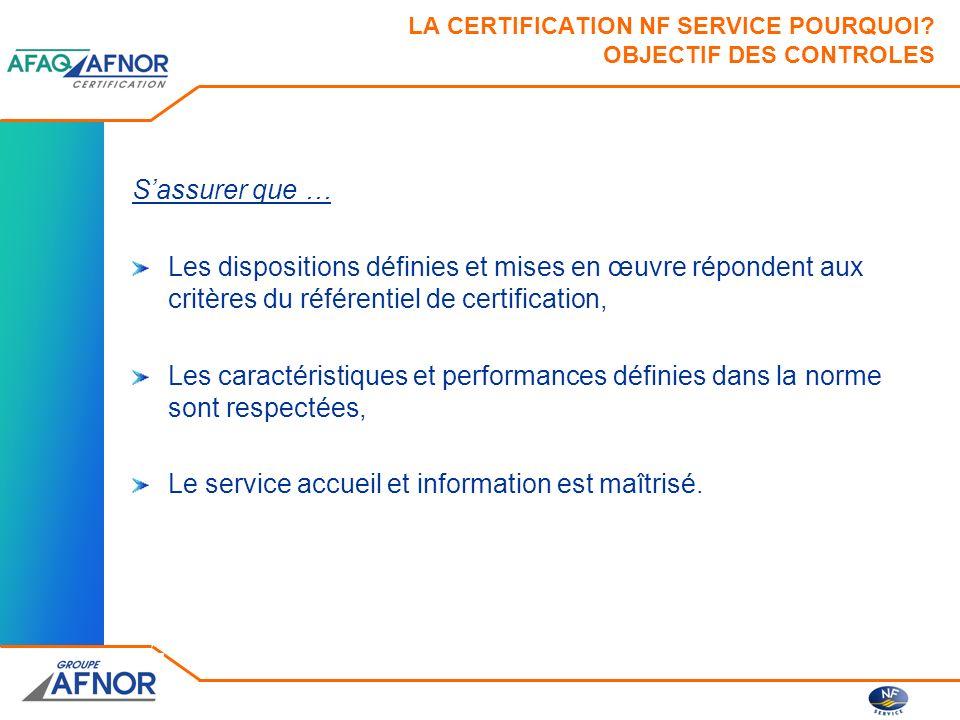 LA CERTIFICATION NF SERVICE POURQUOI OBJECTIF DES CONTROLES