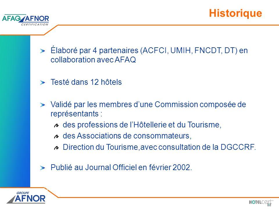 Historique Élaboré par 4 partenaires (ACFCI, UMIH, FNCDT, DT) en collaboration avec AFAQ. Testé dans 12 hôtels.