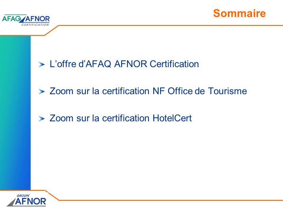 Sommaire L'offre d'AFAQ AFNOR Certification