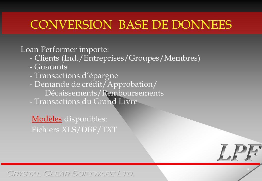 CONVERSION BASE DE DONNEES