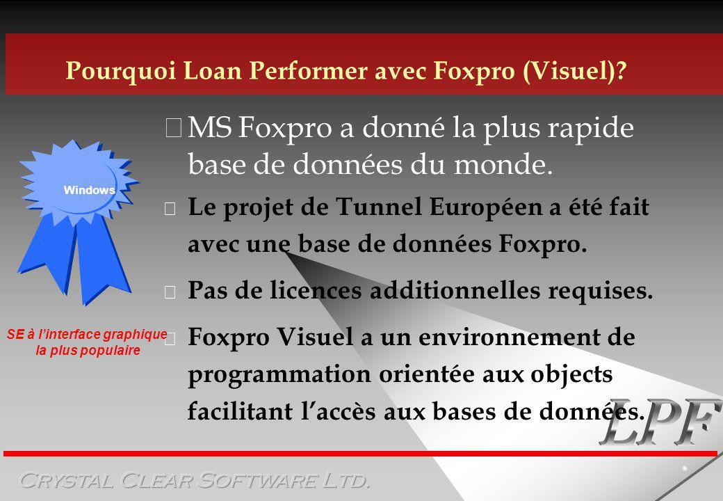MS Foxpro a donné la plus rapide base de données du monde.