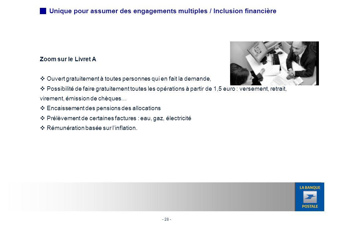 Unique pour assumer des engagements multiples / Inclusion financière