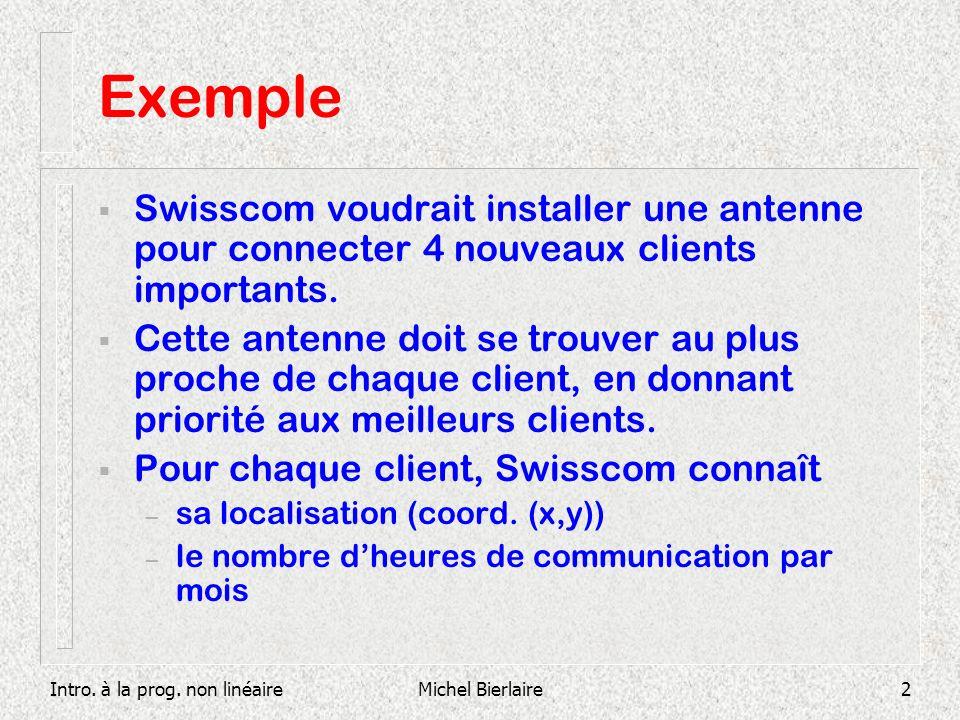 Exemple Swisscom voudrait installer une antenne pour connecter 4 nouveaux clients importants.