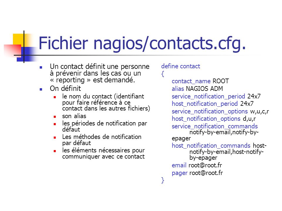 Fichier nagios/contacts.cfg.