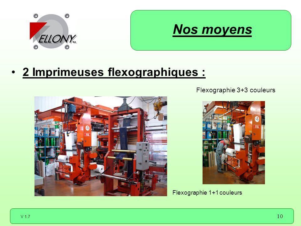 Nos moyens 2 Imprimeuses flexographiques : Flexographie 3+3 couleurs