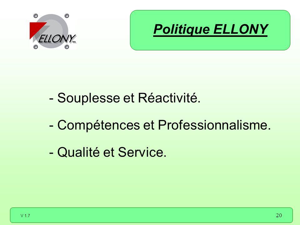 Politique ELLONY - Souplesse et Réactivité. - Compétences et Professionnalisme.