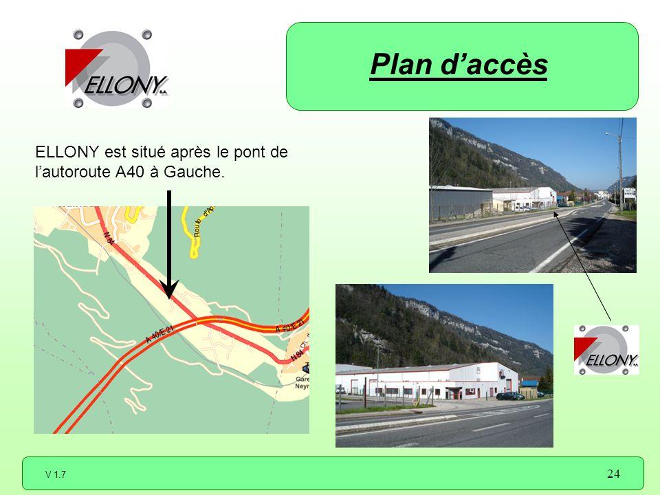 Plan d'accès ELLONY est situé après le pont de l'autoroute A40 à Gauche.