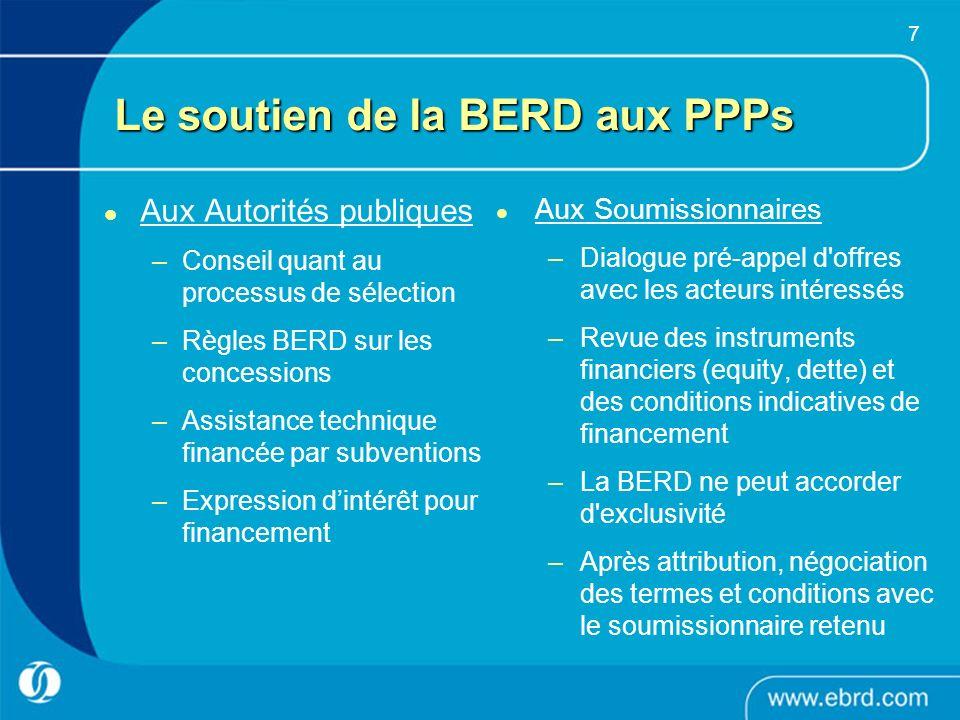 Le soutien de la BERD aux PPPs