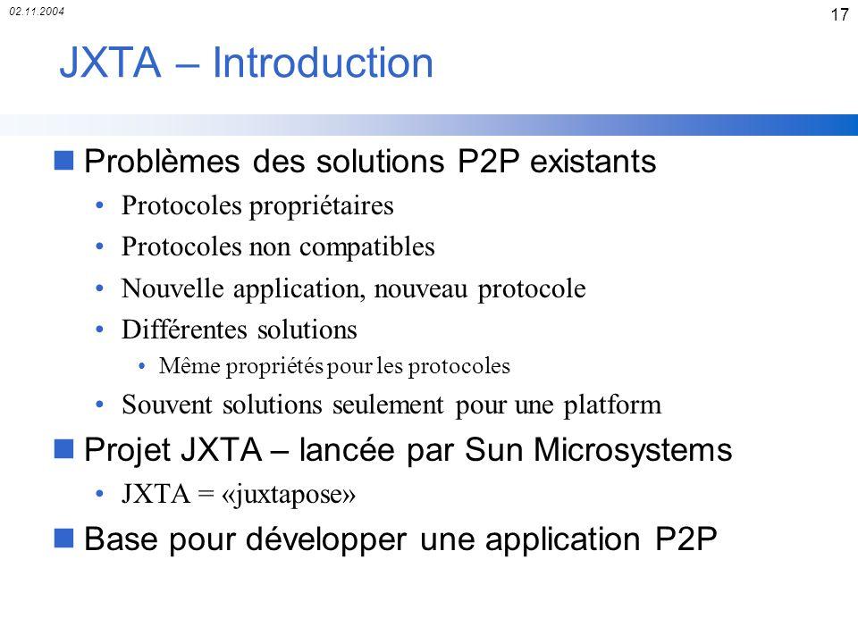 JXTA – Introduction Problèmes des solutions P2P existants
