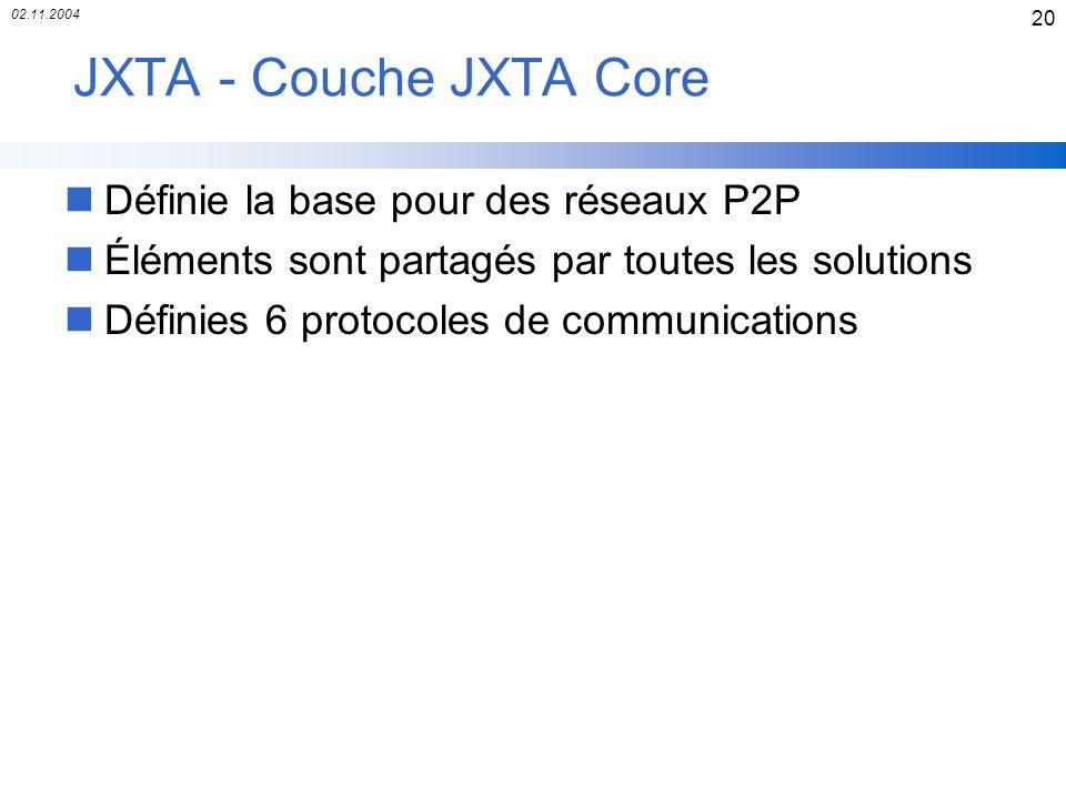 JXTA - Couche JXTA Core Définie la base pour des réseaux P2P