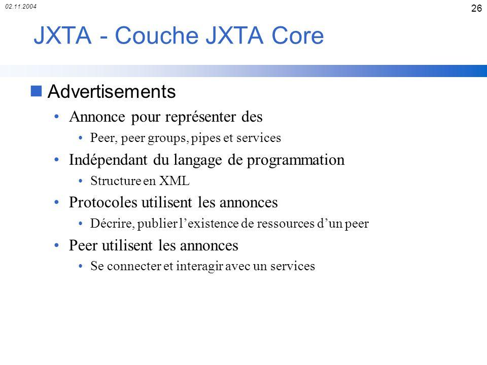 JXTA - Couche JXTA Core Advertisements Annonce pour représenter des