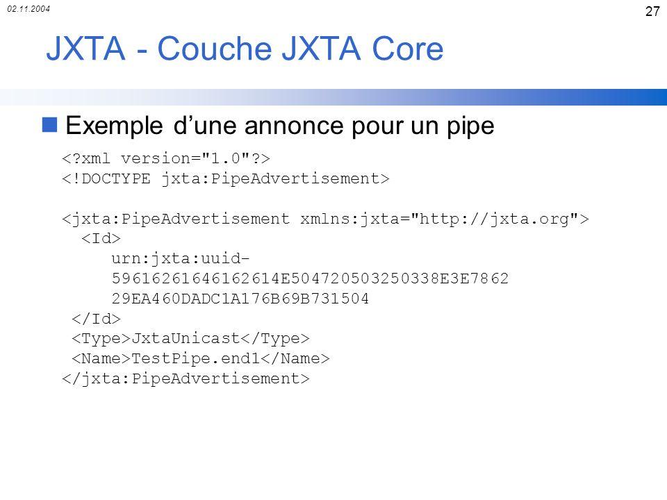JXTA - Couche JXTA Core Exemple d'une annonce pour un pipe