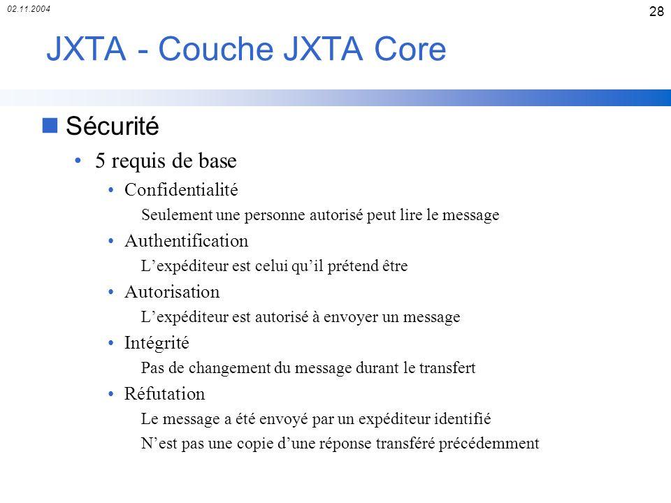 JXTA - Couche JXTA Core Sécurité 5 requis de base Confidentialité