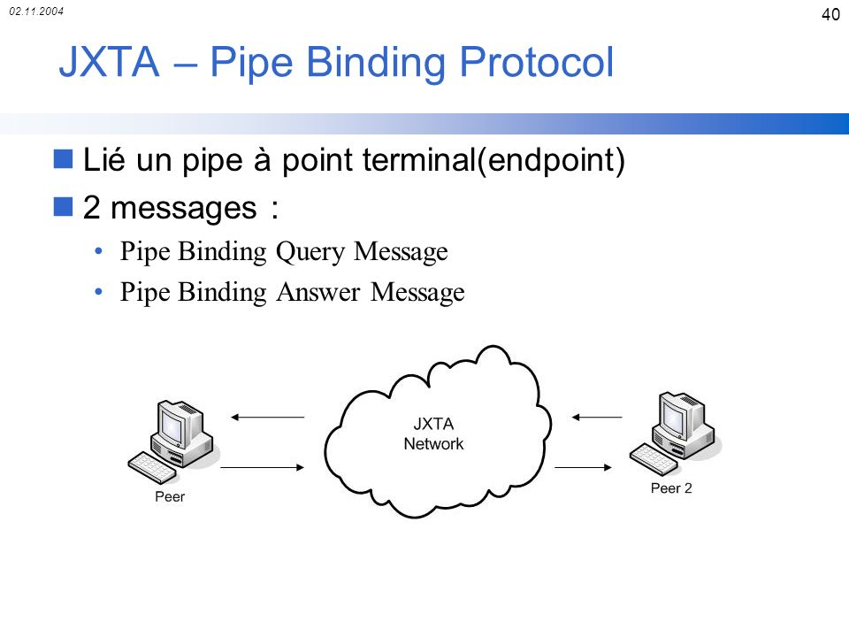 JXTA – Pipe Binding Protocol