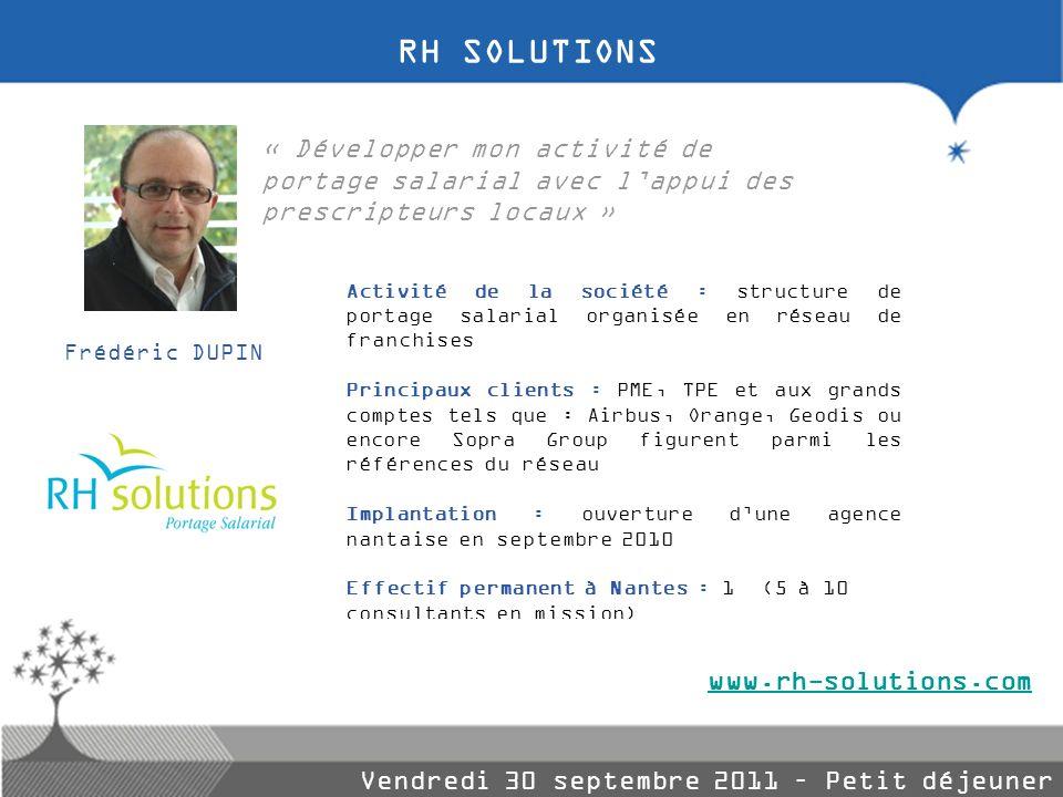 RH SOLUTIONS « Développer mon activité de portage salarial avec l'appui des prescripteurs locaux »