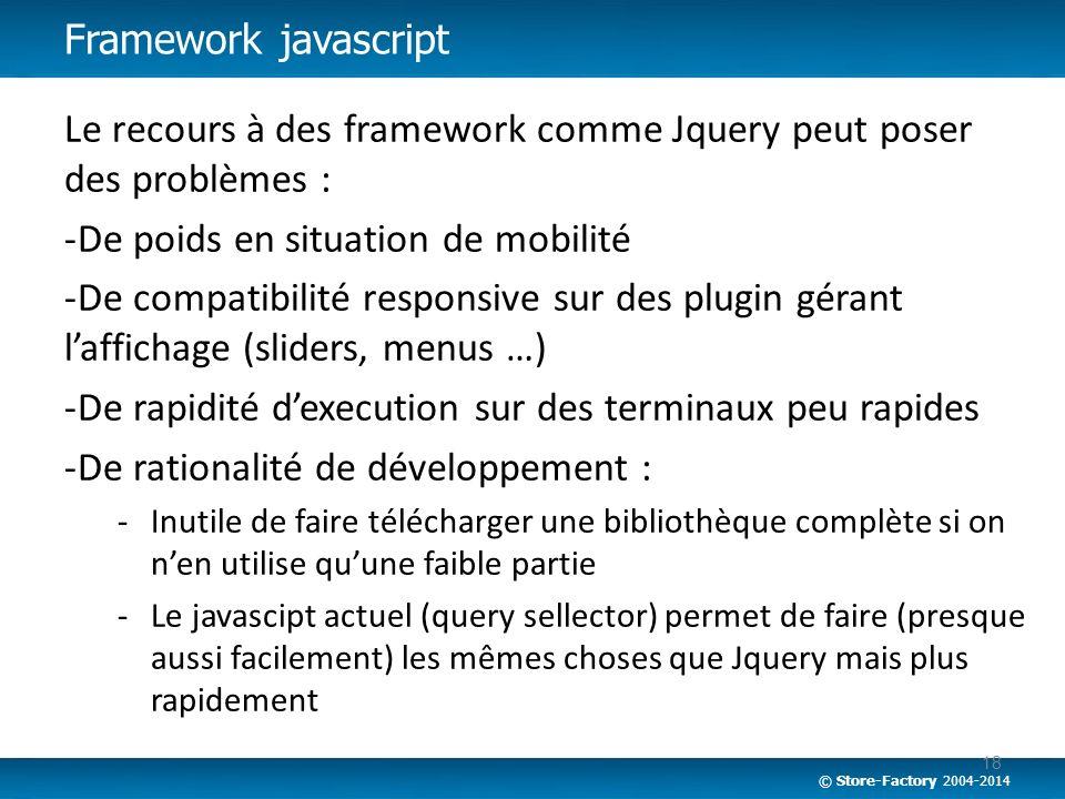 Le recours à des framework comme Jquery peut poser des problèmes :
