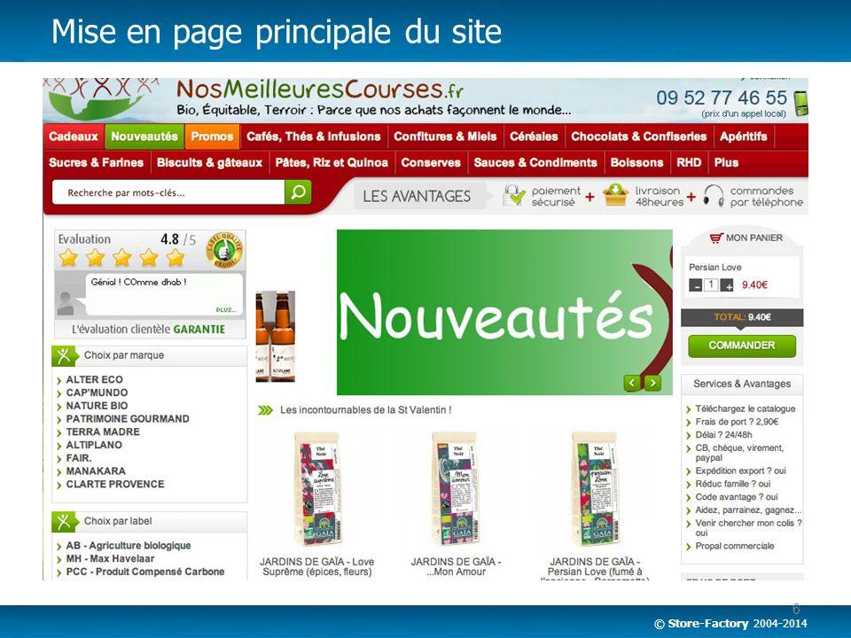 Mise en page principale du site
