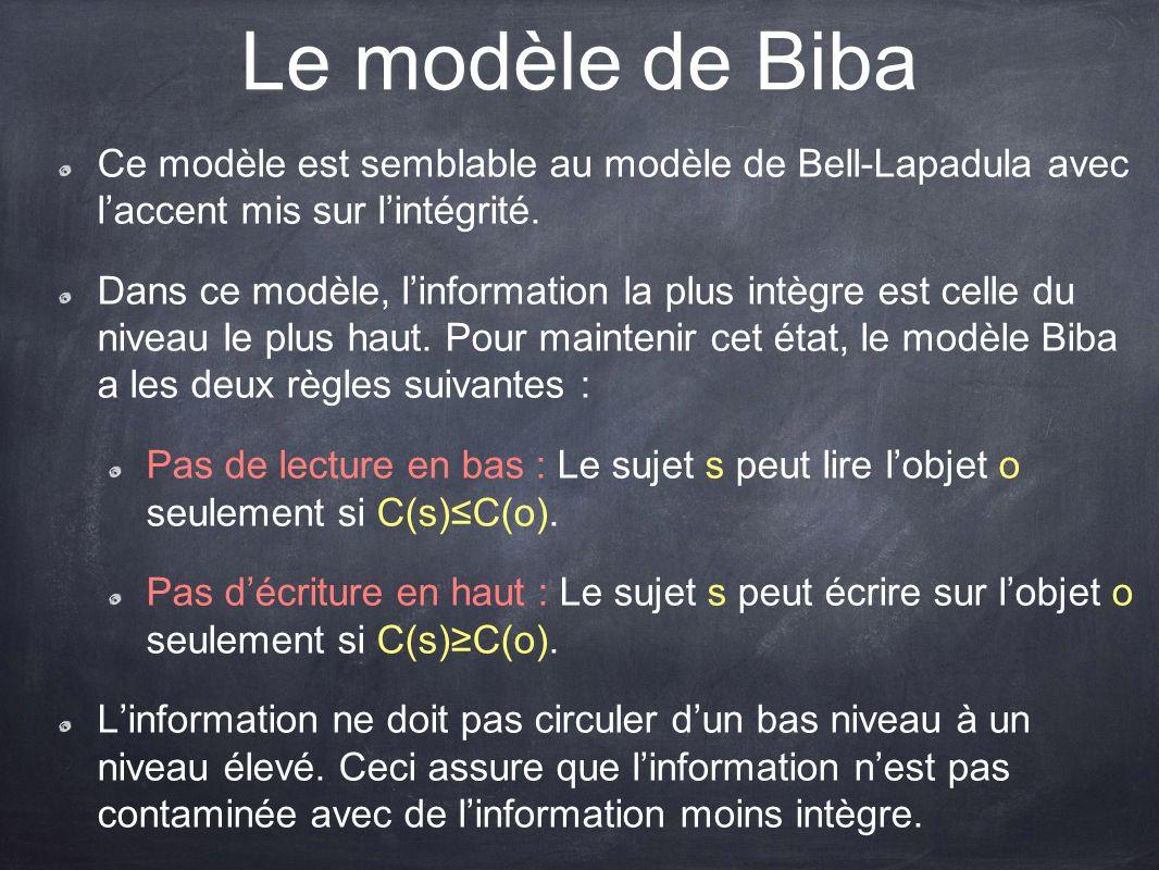 Le modèle de Biba Ce modèle est semblable au modèle de Bell-Lapadula avec l'accent mis sur l'intégrité.