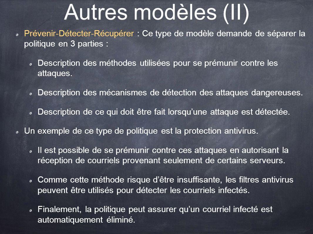 Autres modèles (II) Prévenir-Détecter-Récupérer : Ce type de modèle demande de séparer la politique en 3 parties :