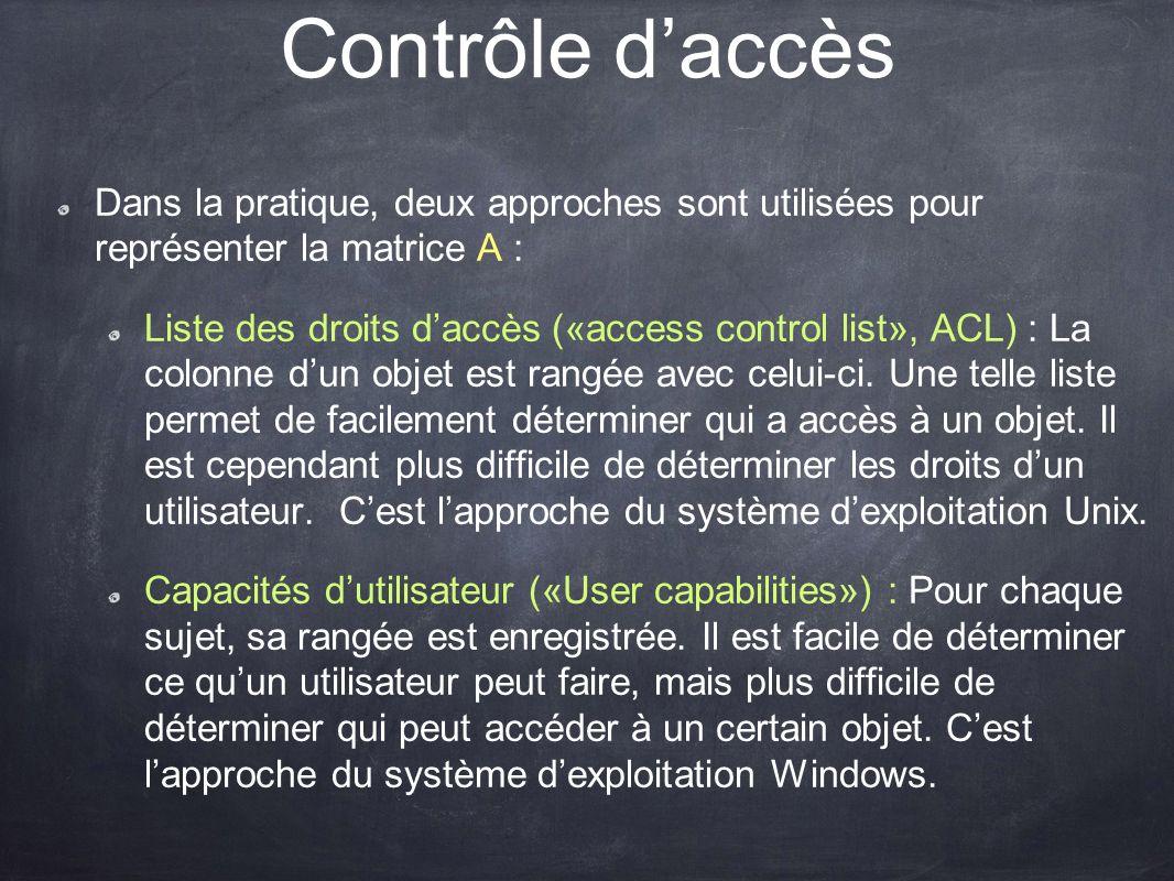Contrôle d'accès Dans la pratique, deux approches sont utilisées pour représenter la matrice A :