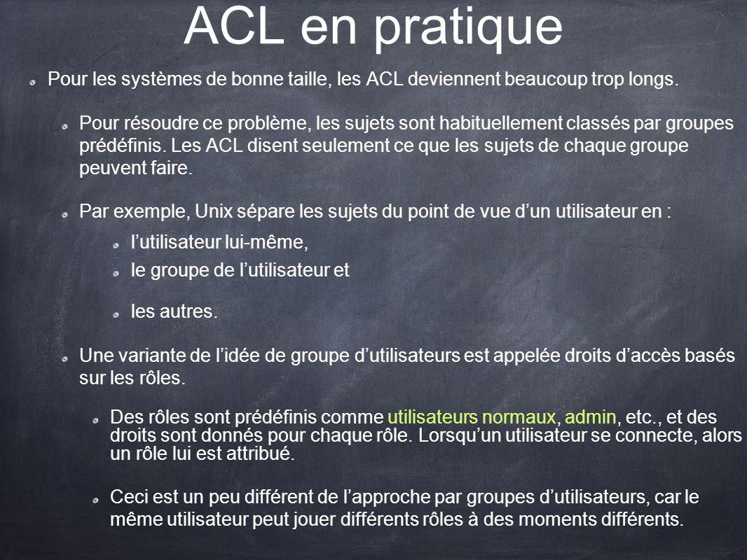 ACL en pratique Pour les systèmes de bonne taille, les ACL deviennent beaucoup trop longs.