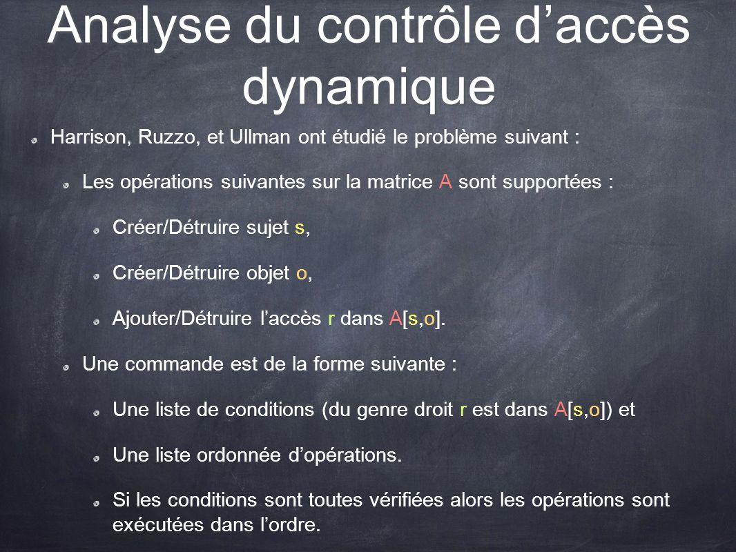 Analyse du contrôle d'accès dynamique