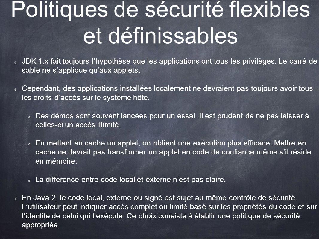 Politiques de sécurité flexibles et définissables
