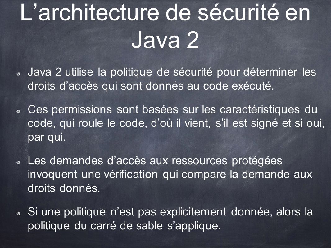 L'architecture de sécurité en Java 2