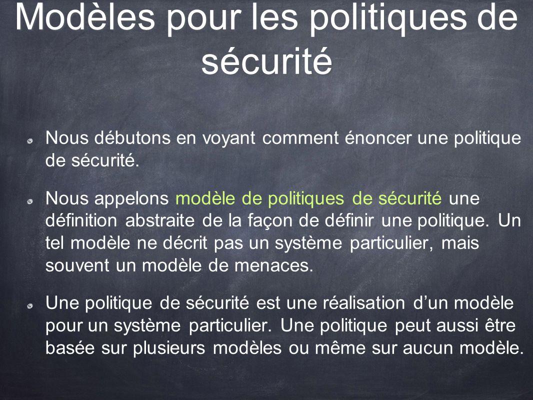 Modèles pour les politiques de sécurité