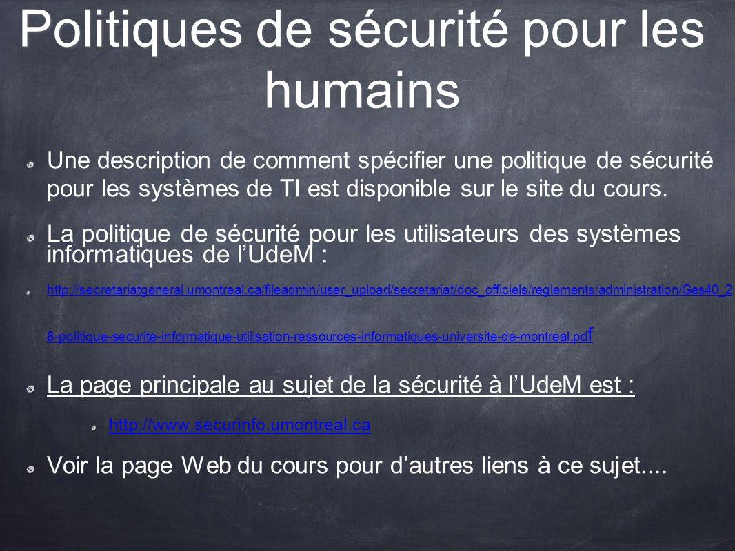 Politiques de sécurité pour les humains