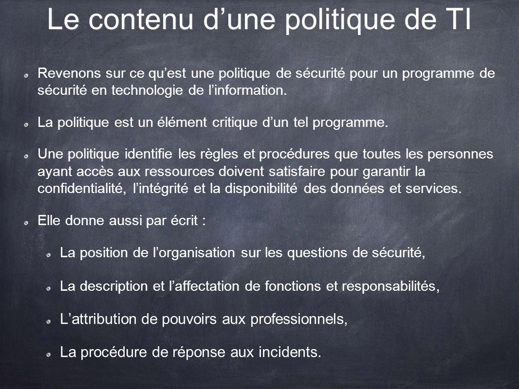 Le contenu d'une politique de TI