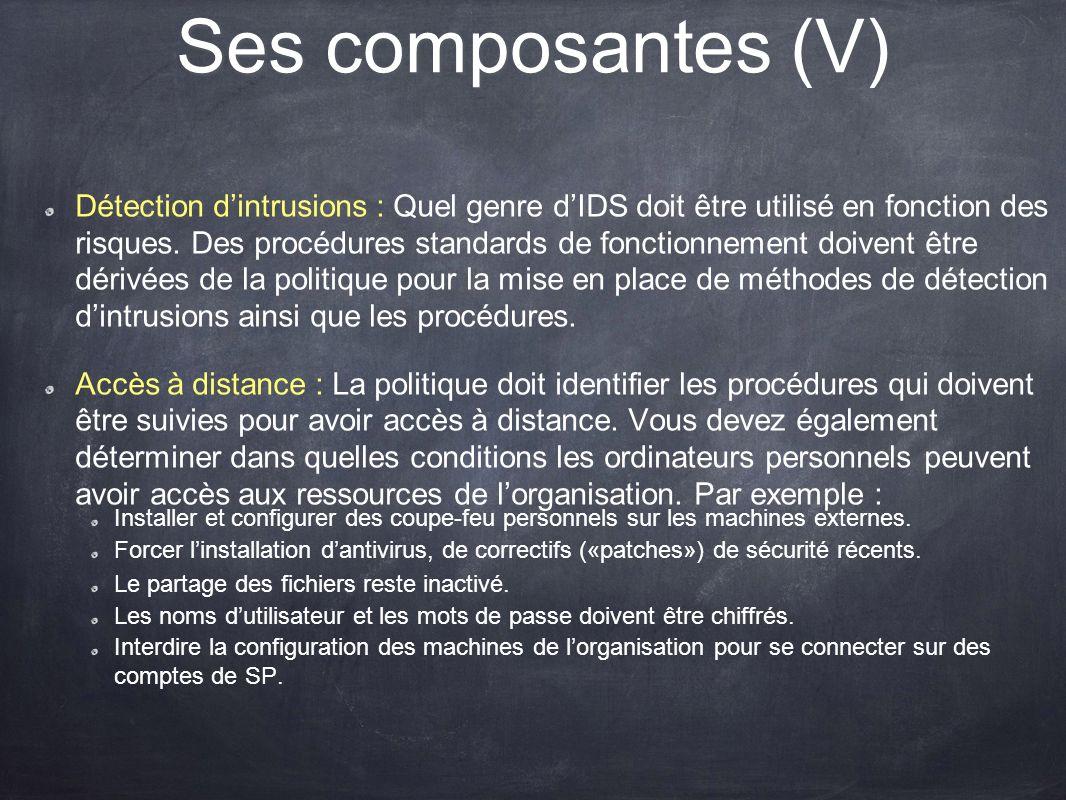 Ses composantes (V)