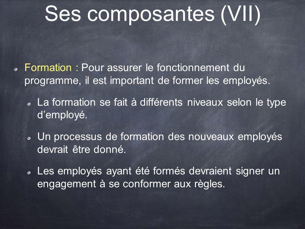 Ses composantes (VII) Formation : Pour assurer le fonctionnement du programme, il est important de former les employés.