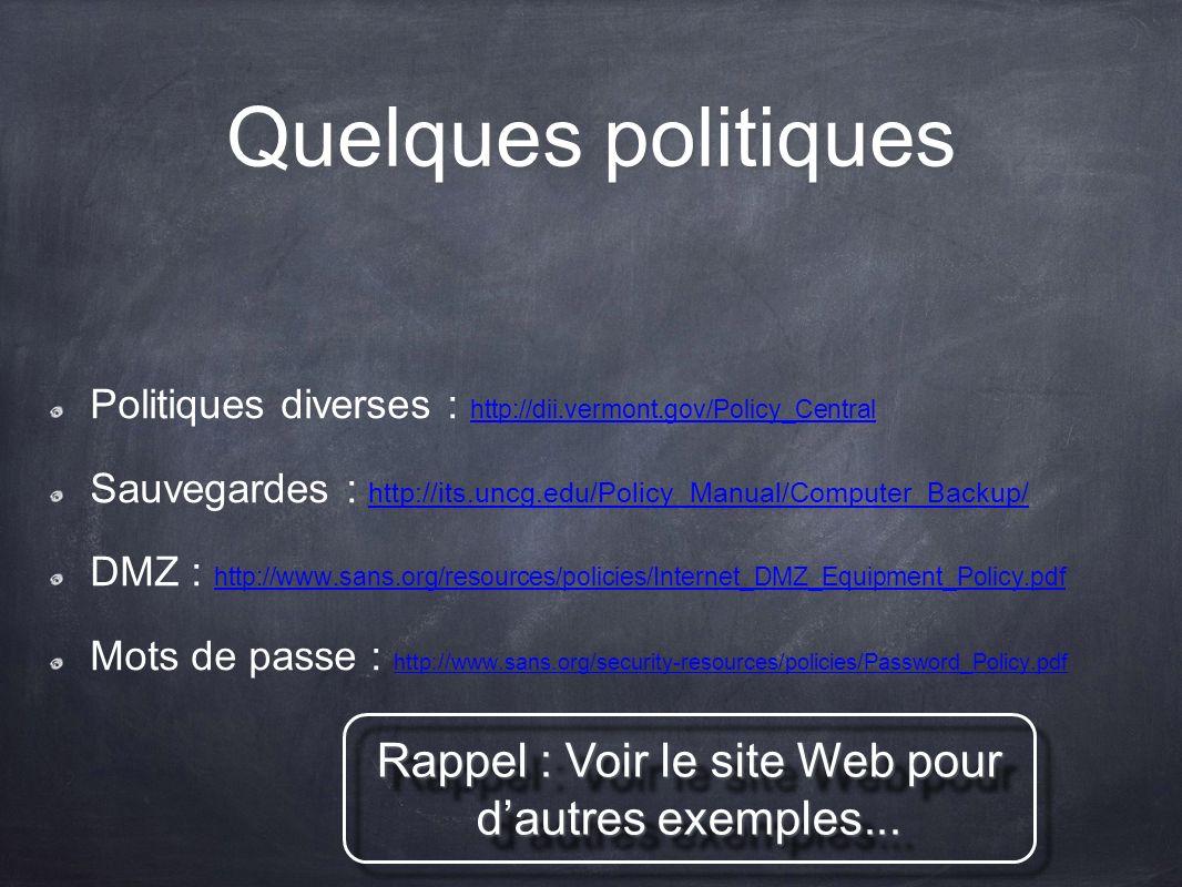 Rappel : Voir le site Web pour d'autres exemples...