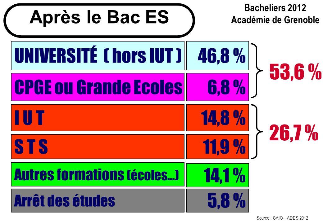 53,6 % 26,7 % Après le Bac ES UNIVERSITÉ ( hors IUT ) 46,8 %