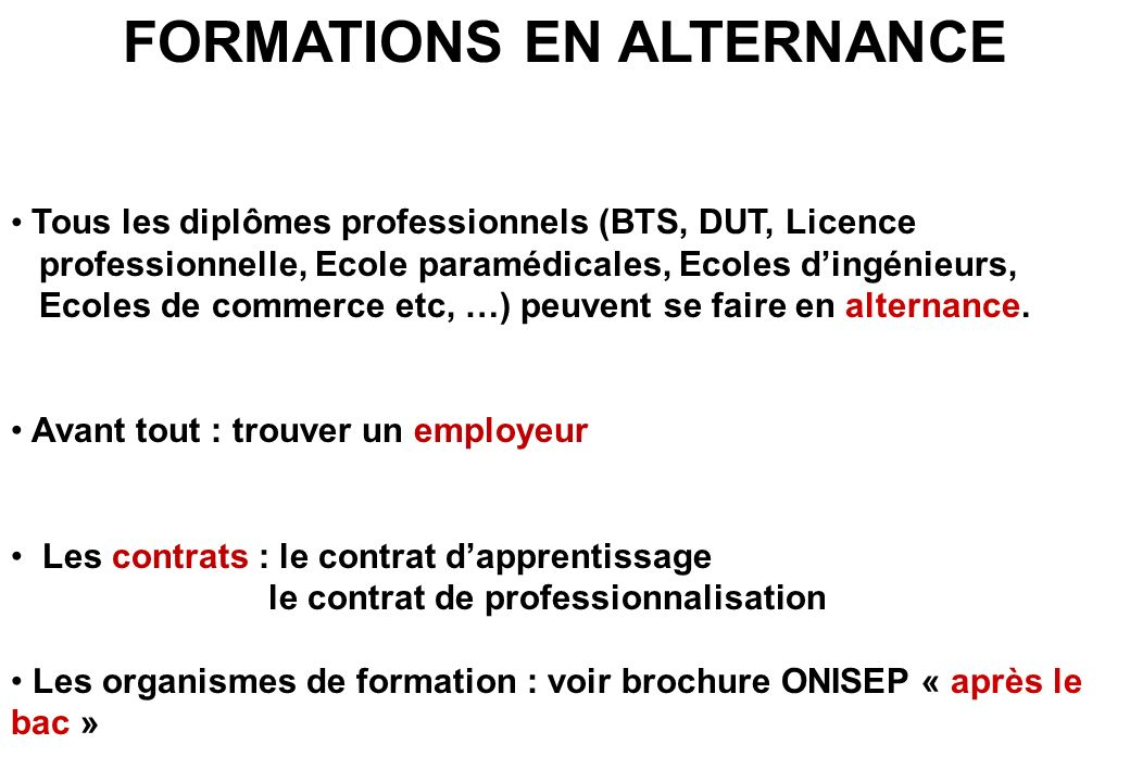 FORMATIONS EN ALTERNANCE