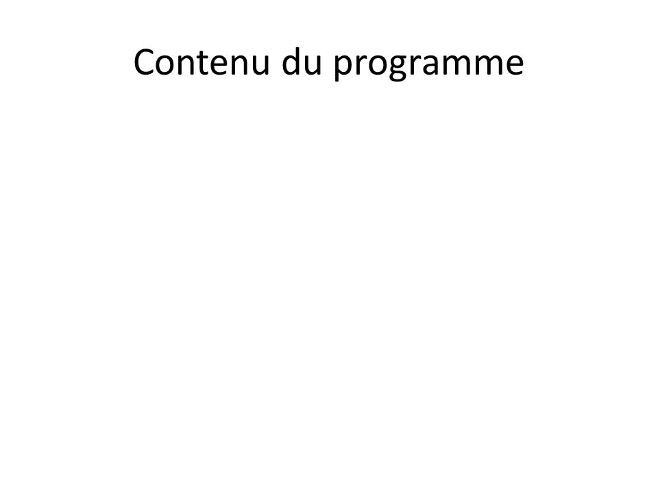 Contenu du programme