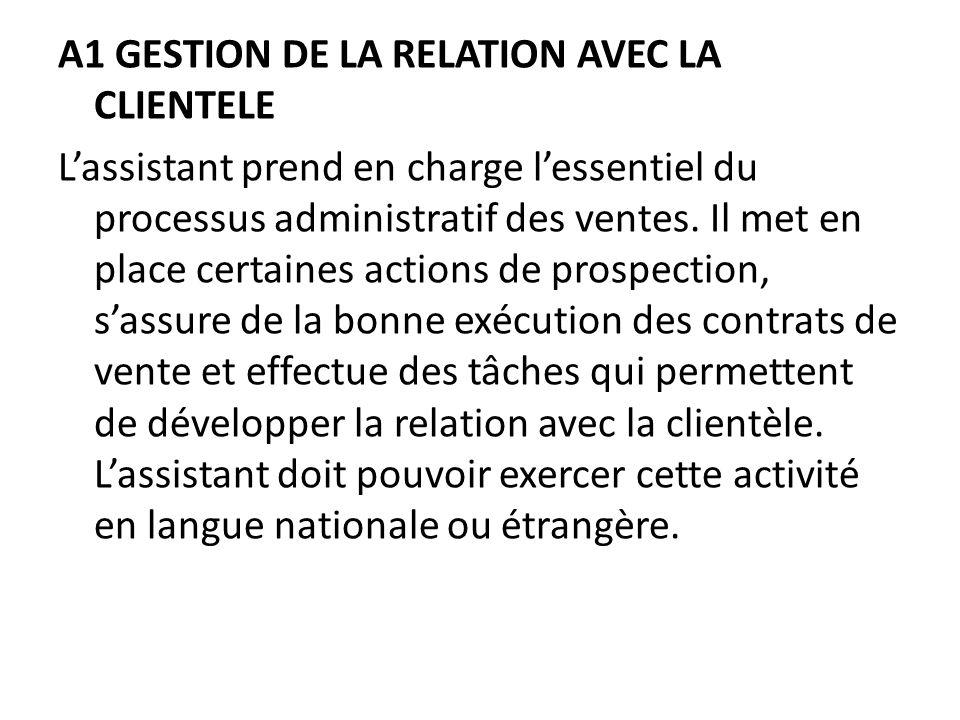 A1 GESTION DE LA RELATION AVEC LA CLIENTELE L'assistant prend en charge l'essentiel du processus administratif des ventes.